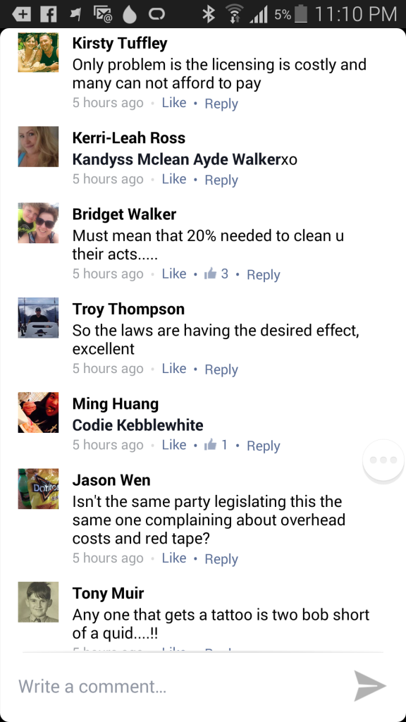 facebook comments about tattoo parlor closures